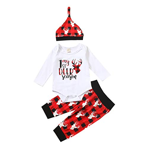 Infant Baby Girl Boy Christmas Outfit My 1St Deer Romper Bodysuit Red Plaid Pants Set with Hat Xmas Clothes (White Plaid, 0-6 Months)