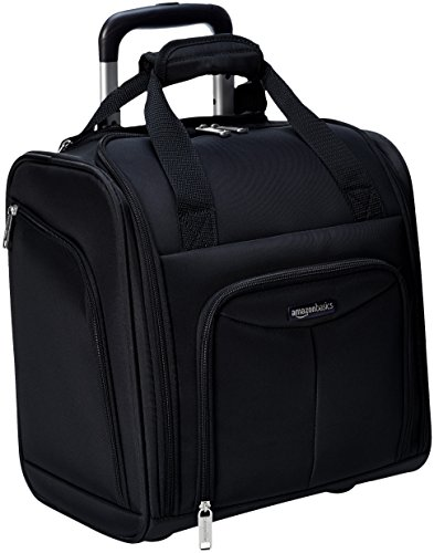 AmazonBasics Underseat Carry-On Rolling Travel Luggage Bag with Wheels, 14 Inches, Black