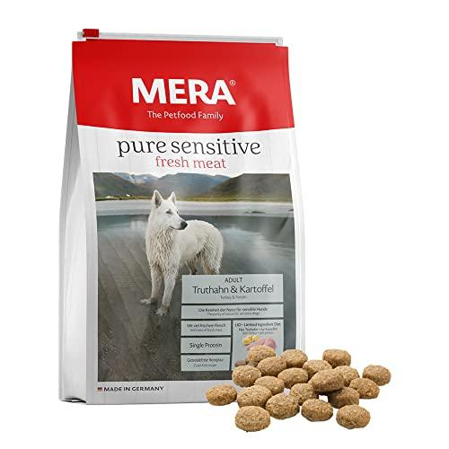 Mera Pure Sensitive Fresh Meat Adult Nourriture sèche pour Chiens goût Dinde et Pommes de Terre – Recette sans céréales et 25 % de Viande fraîche