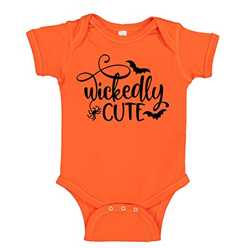 Wickedly Cute - Halloween Witch - Funny Cute Infant Creeper, One-Piece Baby Bodysuit (Orange, 6 Months)