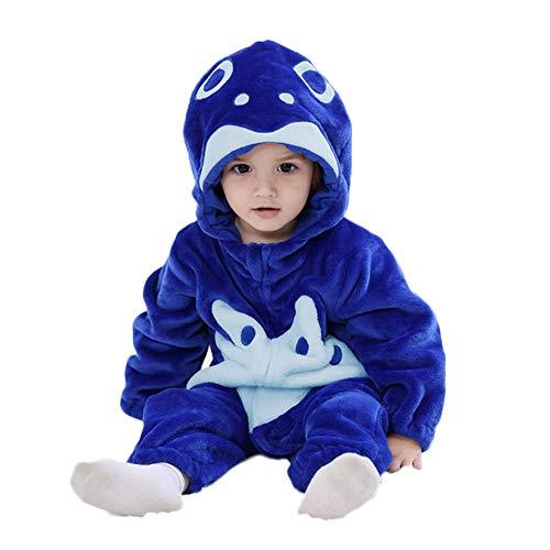 LSERVER Mameluco de Cosplay para Bebés Recién Nacidos Ropa de Arrastre Disfraz Unisexo de Franela con Capucha Estilo Animales, Pez Azul, 90 (Altura Recomendada:73-80cm)