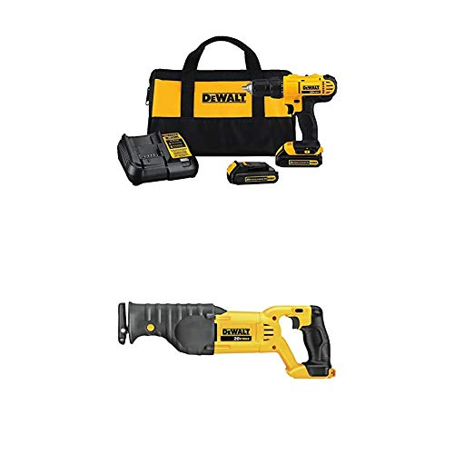 Dewalt DCD771C2 20V MAX Cordless Lithium-Ion 1/2 inch Compact Drill Driver Kit and Reciprocating Saw, Bare Tool Only