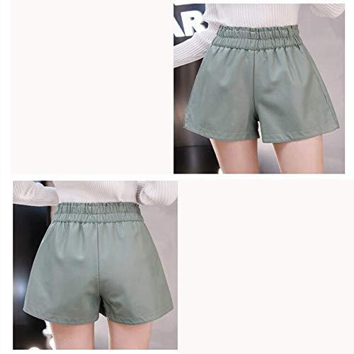 ZVHUK Herbst Und Winter Neue PU-Leder Shorts Weibliche Elastische Taille Mode Locker Breites Bein EIN Wort Lederhosen Tragen,C,S