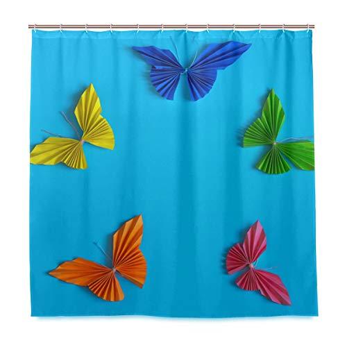 Rootti Cortina de ducha colorida con diseño de mariposas origami, tela de poliéster, impermeable, resistente al moho, con ganchos, para decoración del hogar, 167 x 182 cm