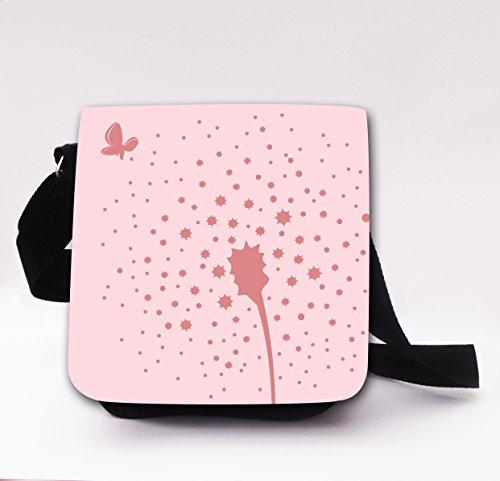 ilka parey wandtattoo-welt Schultertasche Handtasche Tasche mit Pusteblume Blume Schmetterlinge Mädchentasche Umhängetasche mit Eule kt22