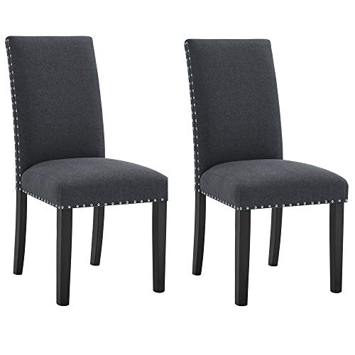 poplarbox Fabric Dining Chairs Set of 2 Upholstered Dining Chairs Parsons Chairs High Back Side Chairs Modern Accent Dining Chairs with Nailhead Trim and Wood Legs(2, Dark Gray)