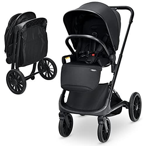 INFANS 2 in 1 Convertible Baby Stroller, Quick-Fold Infant Stroller with Aluminum Frame,Hard Back, Oversized Storage Basket,Adjustable Canopy, 5-Point Seat Belt, Compact Baby Travel Stroller (Black)