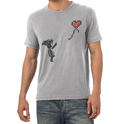 Texlab Herren Banksy Link T-Shirt, Grau Meliert, S