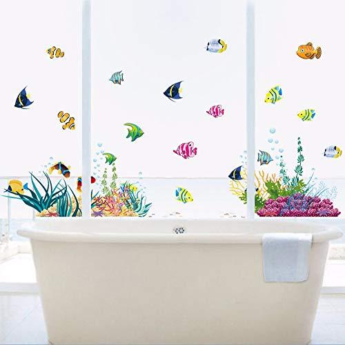 Doe-het-zelf Te Tropivsl Fish Nursery Room Wall Sticker Home Decor Decal Art Kids 3D Sticker voor de badkamer Cartoon Mondo bureau-onderlegger