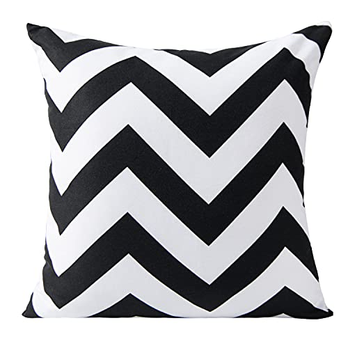BEDSUM Microfiber Black and White Chevron Throw Pillow Cover Geometrical Zigzag Stripe, 18 x 18 Inches Decorative Modern Square Cushion Case for Living Room Bed Sofa Couch