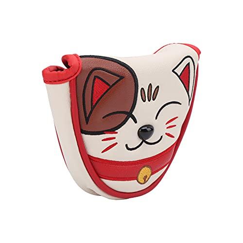 T-Day Cubierta de Palo de Putter de Centro de Golf, Lucky Cat Cubierta de Cabeza de mazo de Golf Impermeable Protector de Cubierta de Cabeza de Putter de Centro de Club