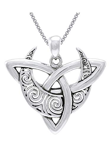Jewelry Trends Sterling Silver Celtic Triquetra Moon Goddess Trinity Knot Pendant Necklace 18'
