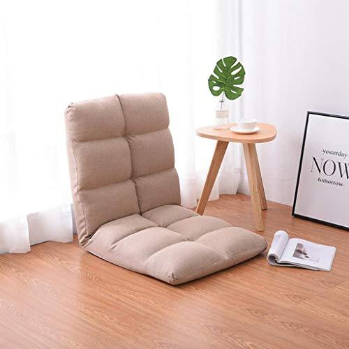 Dsrgwe Silla de Suelo Asiento con Respaldo de Respaldo Alto y Respaldo Alto de 5 Posiciones Asiento del colchón y sillón Sleeper Futon (Color : Khaki)