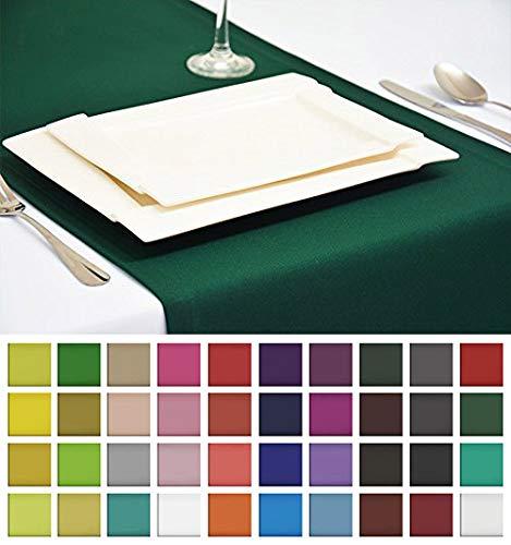 Rollmayer Edle Tischläufer Tischdecke Tischtuch Tischwäsche Pflegeleicht Kollektion Vivid (Smaragdgrün 46, 40x180cm)