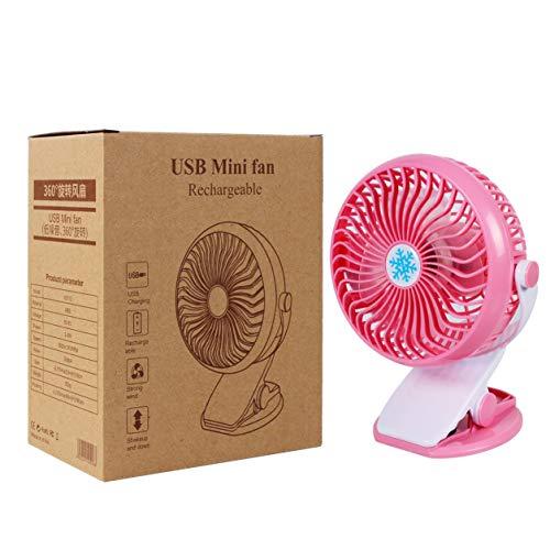 Kongqiabona-UK Clip Fan Mini Clip Fan 360 Grados Rotación USB Carga Velocidad Continua Ventilador de Escritorio Ventilador de Refrigeración Eléctrica con Batería para Escritorio