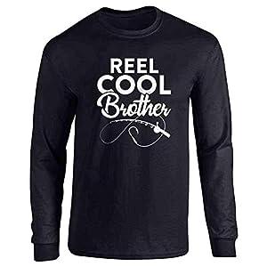 Reel Cool Brother Fishing Rod Fisherman Funny Black L Full Long Sleeve Tee T-Shirt