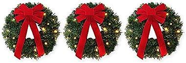 Winter Wonderland 18-Inch Pre-Lite Battery-Operated Wreaths (Set of 3)