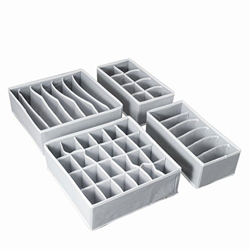 AOTUNO Closet Underwear Organizer?Foldable Storage Box Drawer Divider Kit Set of 4 ?Gray?