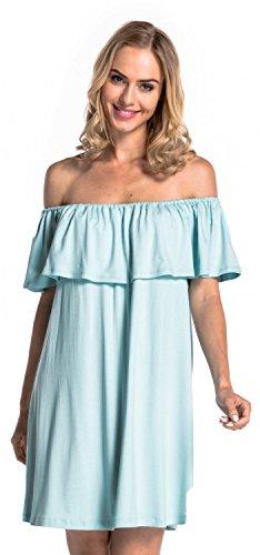 Glamour Empire. Damen Lagendesign Rüschen Kleid Elastisch Carmen-Ausschnitt. 624 (Hellblau, EU 42/44, XL)