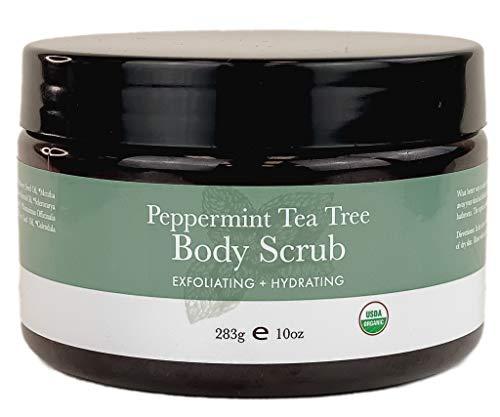 Organic Body Scrub - Peppermint Tea Tree Sugar Scrub Hydrating Exfoliating Body Scrub for Women & Men, Body Exfoliator for Shower and Bath