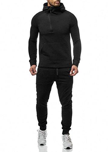 Herren Jogginganzug Schwarz Weiß Sportanzug Trainingsanzug Slim Fit (Schwarz, XS)