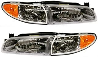 Headlight Assembly Compatible with 1997-2003 Pontiac Grand Prix Halogen Coupe/Sedan Passenger and Driver Side