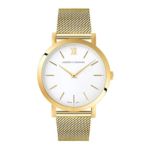 Larsson & Jennings LJXII Lugano Unisex Herren & Damen Uhren with 33mm Satin White dial and Gold Gold Plated Stainless Steel Strap LJXII133002.