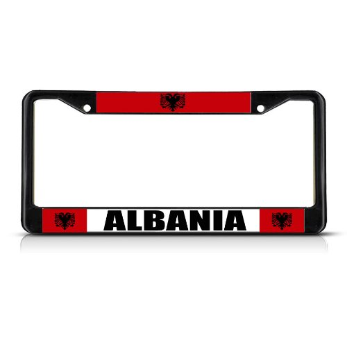 Fastasticdeals Albania Albanian Flag License Plate Frame Tag Holder Cover