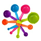 Fonya Easy-to-Read Plastic 10-Piece Multi-Color Measuring Cup and Spoon Set