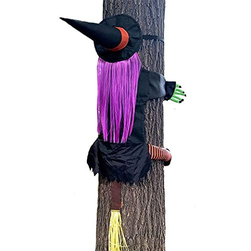 Decoración de Bruja en el árbol de Halloween, Bruja sosteniendo el árbol,estrellándose en el árbol Decoración de Halloween,decoración Colgante Divertido Suministros para Fiestas