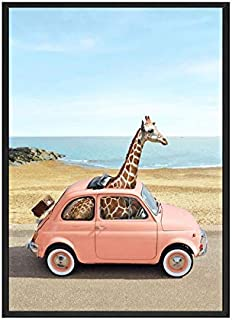 VDT Flamingo Girafe on Bus Nursery Animal Wall Art Print Painting Nordic Picture Children Bedroom Decoration Frame
