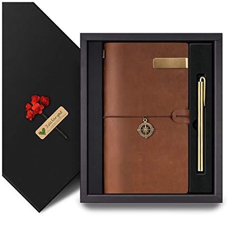 Notizbuch Leder KKDragon Vintage Notizbuch Standard Travelers Notebook + Messingstift + Stifthalter + 3 Einsätze in Geschenkbox Perfekt für Schreiben Geschenk Braun 22x12 cm