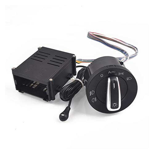HUAYU Coche Chrome Light Switch Auto Lámpara Sensor Light Fit para VW Transporter Multivan Caravelle T5 T6 + Linterna Auto