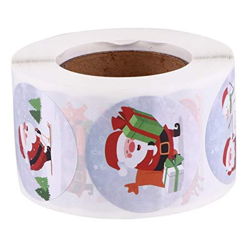 MILISTEN 1 Rouleau de Noël Étiquette de Cadeau Autocollants Auto-Adhésifs Père Noël Étiquettes de Cadeau Autocollants D'étanchéité pour Les Fournitures D'emballage Cadeau 500Pcs Style 1