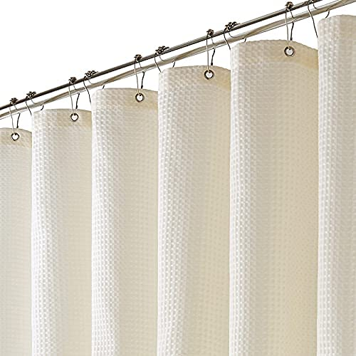 BTTN Beige Textil Duschvorhang, 280 GSM Hotel Hoher Qualität Waffelmuster Duschvorhänge Set mit 12 Haken, Anti-Schimmel Wasserdicht & Beschwerter Saum für Badezimmer (B183 * H183 cm)