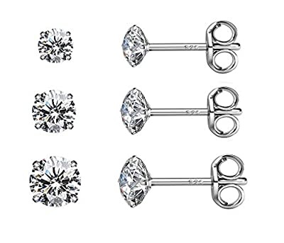 Sterling Silver CZ Studs Earrings, 6 Pairs, 14k Gold Post 4 Prong Pure Brilliance Diamond Stud Earrings for Women Mens Gilrs Children Sensitive Ears priercing (3/4/5/6/7/8mm Pack of 6)
