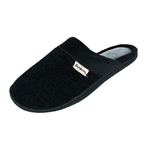 Dearfoams Damen Chenille Clog with Quilted Sock Slipper, schwarz, Small/Medium