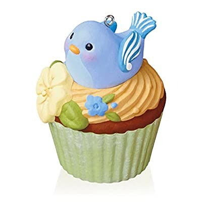 Cute Cupcake Christmas Ornament with a blue bird sitting yellow frosting
