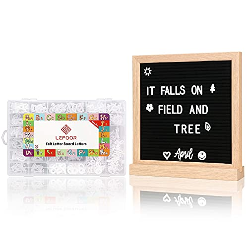 Letter Board with Letters and Numbers,645 PRE-Cut Characters (3/4 and 1 Inch,White) with Sorting Tray,Oak Frame Wooden Felt Letter Board with Stand 10&10 Inches - Black and Gray