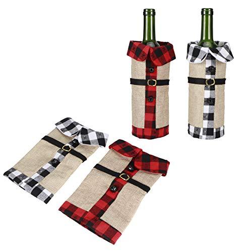 Regalo RomÁnticoCubierta de botella,Botella de vino de tela navideña de 2 piezas,...