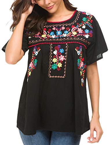 YZXDORWJ Women's Embroidered Mexican Peasant Blouse (3XL, Black69)