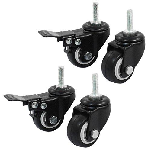 Sourcingmap Rollen für Einkaufswagen a14071600ux0660, ca. 3,8cm, mit Bremse und Lenkrolle–Schwarz (4Stück) de