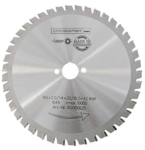 CROSSFER HM Kreissägeblatt 165 x 30 mm Z42 Multifunktionssägeblatt für Metall Kunststoff Spanplatten Laminat Hartmetall bestückt für Kreissägen
