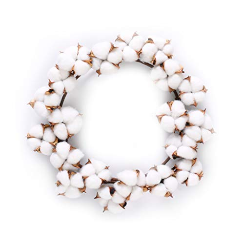 """12"""" Cotton Wreath Mini Small Wreath Full Nature White Cotton Bolls Farmhouse Decor for Bedroom Wall Window Home Office, Wedding Housewarming Gift Easter Christmas Festival Hanging Decorations"""