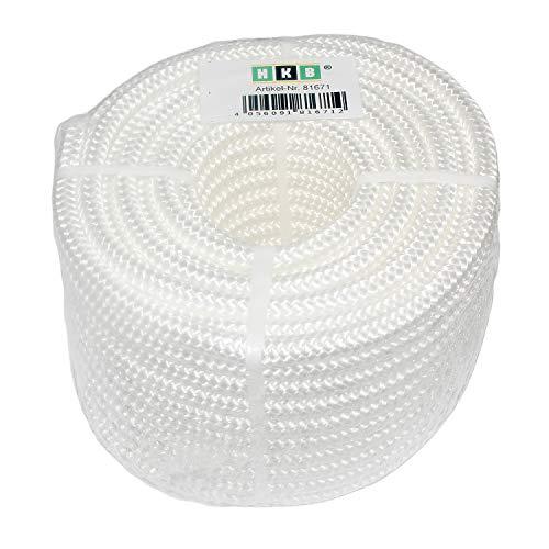 HKB 1 Stück Kunststoff-Seil, PP-Seil, weiss, aus Polypropylen, geflochten, 8mm stark, 20m aufgerollt, Hersteller HKB, Artikel-Nr. 81671