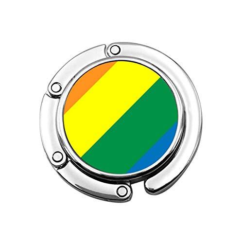 Gancho de monedero para la mesa, colores del arco iris portátil de la bolsa de la suspensión de bolsos clips para las mujeres titular almacenamiento plegable organizador de escritorio almacenamiento
