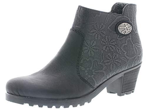 Rieker Damen Stiefeletten Y80A2, Frauen Ankle Boots, Winterstiefeletten weibliche Lady Ladies feminin,schwarz,37 EU / 4 UK