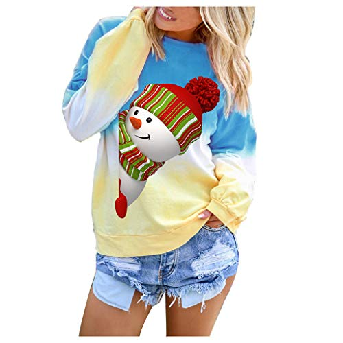YSFWL Farbverlauf Sweathirts, Damen Oberteile Weihnachten Schneemann Drucken Hoodies Lose Pullover Festival Blusen Kontrastfarbe Collegejacke Langarm Tops for Herbst Und Winter Gr. S-3XL