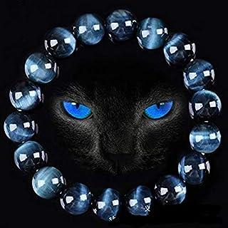 Blue Tiger Eye Buddha Bracelets Natural Stone Round Beads Elasticity Rope Men Women Bracelet - Beads 10mm