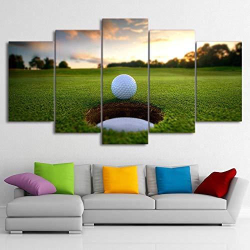 Tacbz Canvas, wand, kunstfoto, voor de woonkamer, bedrukt, decoratie thuis, 5-delig, golfbal hardlopen, vrije tijd, sport, landschap, schilderkunst 200 x 100 cm, modern schilderij en druk, multi-module, wanddecoratie, hoog